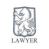 Icona o emblema dell'avvocato con il leone araldico Immagini Stock Libere da Diritti