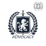 Icona o emblema isolata vettore di avvocatura Immagini Stock