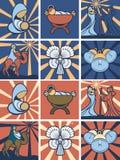 Icona o insieme di simboli di natività Immagini Stock Libere da Diritti