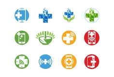 Icona o insieme medica di logo Immagini Stock