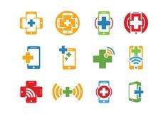 Icona o insieme medica di logo Immagine Stock