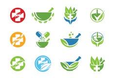 Icona o insieme medica di logo Immagine Stock Libera da Diritti