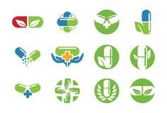 Icona o insieme medica di logo Fotografia Stock