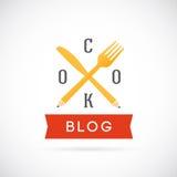 Icona o Logo Template di Blog Vector Concept del cuoco Fotografia Stock Libera da Diritti