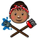 Icona o marchio della signora di pulizia Immagini Stock