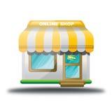 Icona online del negozio del deposito giallo Immagini Stock Libere da Diritti