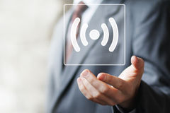 Icona online del segnale del collegamento di Wifi del bottone di affari Immagini Stock Libere da Diritti