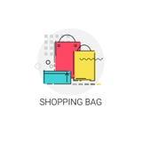 Icona online di acquisto delle borse variopinte illustrazione di stock