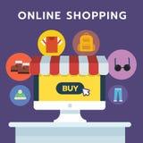 Icona online di acquisto, mano dell'insieme di simboli sul computer portatile del computer, negozio online Fotografie Stock Libere da Diritti