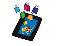Icona online di acquisto Sacchetti della spesa, carretto e smartphone Immagine Stock