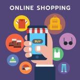 Icona online di acquisto, smartphone della tenuta della mano dell'insieme di simboli Fotografia Stock