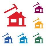 Icona operaio che ricopre i tetti con lastre d'ardesia/del Roofer Fotografia Stock