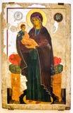 Icona ortodossa russa antica del vergine con il bambino Fotografie Stock Libere da Diritti