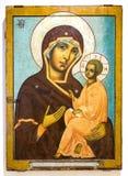 Icona ortodossa russa antica della madre di Dio di Tichvin Fotografia Stock Libera da Diritti