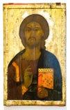 Icona ortodossa russa antica di Cristo Pantocrator dipinta su w Immagine Stock