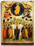 Icona ortodossa russa antica, l'ascensione immagini stock libere da diritti