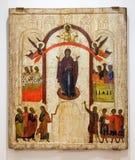 Icona ortodossa russa antica La protezione del pai vergine Fotografie Stock Libere da Diritti