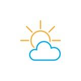 Icona parzialmente soleggiata del tempo isolata su fondo bianco Illustrazione di vettore Fotografia Stock