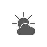 Icona parzialmente soleggiata del tempo isolata su fondo bianco Illustrazione di vettore Fotografie Stock