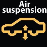 Icona per il segno del cruscotto di sospensione-avvertimento dell'aria dell'automobile Guasto di codice di DTC Immagine Stock