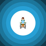 Icona piana accessibile isolata Person Vector Element Can Be disabile usato per handicappato, uomo, concetto di progetto disabile Fotografia Stock