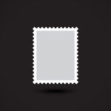 Icona piana in bianco del francobollo su fondo nero Fotografia Stock