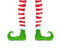 Icona piana colorata, progettazione di vettore con ombra Gambe del ` s di Elf del fumetto in calze a strisce illustrazione di stock