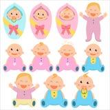 Icona piana del bambino Neonati e neonate Neonati, bambini royalty illustrazione gratis
