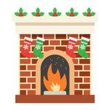Icona piana del camino di Natale, Natale del nuovo anno Fotografia Stock