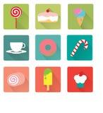 Icona piana del dessert Immagine Stock Libera da Diritti