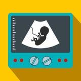 Icona piana del feto di ultrasuono Immagini Stock Libere da Diritti