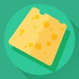 Icona piana del formaggio di vettore Immagini Stock