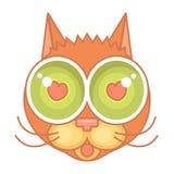 Icona piana del fumetto del fronte del gatto, gatto nell'amore Fotografia Stock Libera da Diritti