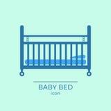 Icona piana del letto di bambino Fotografie Stock Libere da Diritti