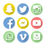 Icona piana del logotype sociale di media Fotografie Stock