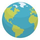 Icona piana del pianeta Terra isolata su bianco Fotografie Stock