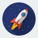 Icona piana del razzo di spazio Immagini Stock