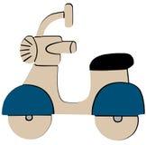 Icona piana del retro motorino blu su fondo bianco royalty illustrazione gratis