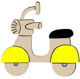 Icona piana del retro motorino giallo su fondo bianco royalty illustrazione gratis