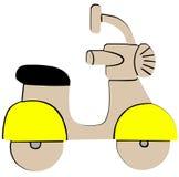 Icona piana del retro motorino giallo su fondo bianco illustrazione vettoriale