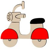 Icona piana del retro motorino rosso su fondo bianco royalty illustrazione gratis