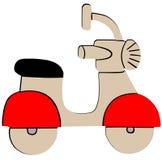 Icona piana del retro motorino rosso su fondo bianco illustrazione di stock