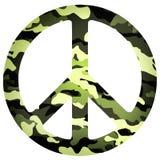 Icona piana del segno di pace con il modello militare Immagine Stock