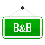 Icona piana del segno di verde di B&B isolata su bianco Immagine Stock