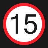 Icona piana del segno massimo limite di velocità 15 illustrazione di stock