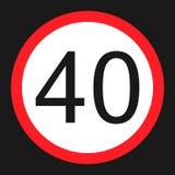 Icona piana del segno massimo limite di velocità 40 illustrazione vettoriale