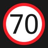Icona piana del segno massimo limite di velocità 70 illustrazione di stock