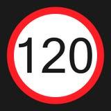 Icona piana del segno massimo limite di velocità 120 illustrazione di stock