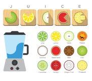 Icona piana del succo del miscelatore e di frutta Fotografia Stock