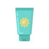 Icona piana del tubo della protezione solare Fotografie Stock